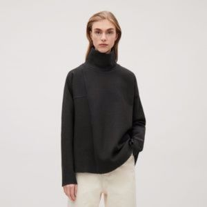 COS Mock Neck Ribbed Long Sleeve Top